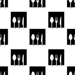 Icono plano con patrón con cuadrado con cubiertos en espacio negativo en color negro en fondo blanco