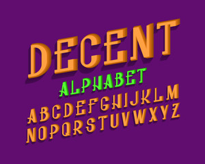 Decent isolated english alphabet. Urban volumetric letters font.