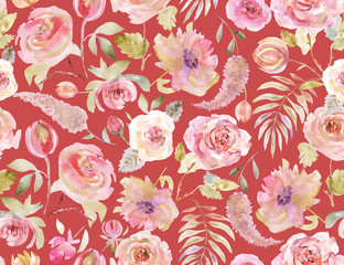 Rose pattern seamless. Pink Golden Watercolor Background