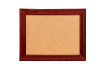 red wood picture frame with passepartout, isolated on white