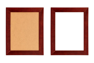 set of two red wood picture frames with passepartout, isolated on white