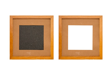 set of two old wood picture frames with passepartout, isolated on white