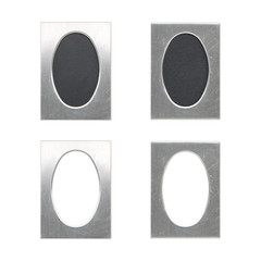 set of old oval silver picture frames, isolated on white
