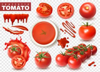 Fototapeta Realistic Tomato Transparent Set obraz
