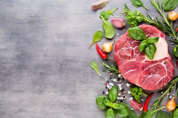 Raw fresh meat Ribeye Steak with spice.