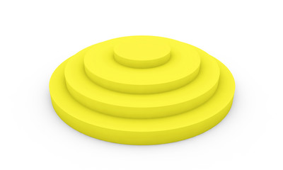 Empty yellow podium 3d illustration on white background
