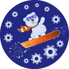 Polar Bear on a snowboard. Winter sport. Blue background with snowflakes. Design for printing on fabrics, paper, packaging materials for sports equipment.