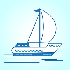 Icon boat, ship, cruise ship sailing on the sea, ocean. Symbol of sea travel. Vector illustration for your design.