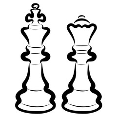 King and Queen, two black chess pieces on a white background