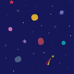Universe Space Planet Star seamless pattern