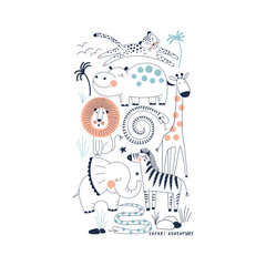 decorative orange and navy blue savannah wildlife illustration with animals leopard, hippo, lion, snake, giraffe, zebra, elephant scandinavian style safari graphic, kids summer t-shirt print