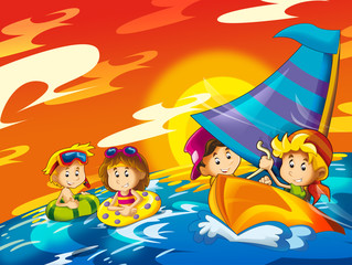 kids playing at the beach having fun by the sea or ocean - illustration for children