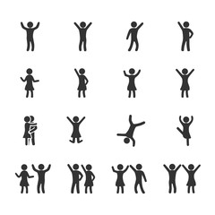 Vector image set of dancing people icons.