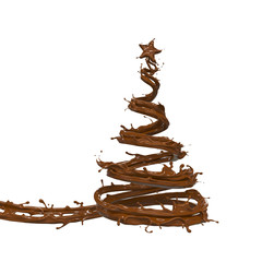 Christmas tree with star made from chocolate splash or cocoa, 3d illustration with clipping path.