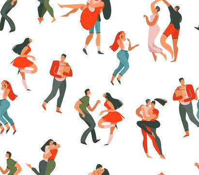 Hand drawn vector abstract cartoon modern graphic Happy Valentines day concept illustrations art seamless pattern with dancing couples people together isolated on white background