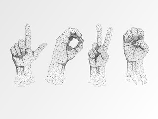 Love Sign language Ok, peace, victory agreement gesture. 3d low poly model of human hand. Origami style Polygonal space low poly. Silent communication. Connection wireframe. Raster on white background