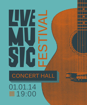 Vector banner or poster for live music festival with guitar in retro style