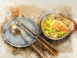 Watercolor style food illustration