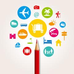 concept d'une bannière internet sur le thème des vacances, avec des pictogrammes pour illustrer le choix d'un programme touristiques