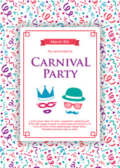 Carnaval Party invitation card with funny decorations. Vector