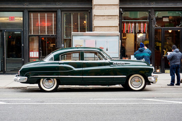 Printed roller blinds Vintage cars Side view of a classic vintage car in the street in NYC
