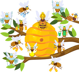 Yellow cartoon beehive on tree branch and honey bee family isolated on white background