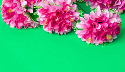 Flowers on a bright background Flat Lay