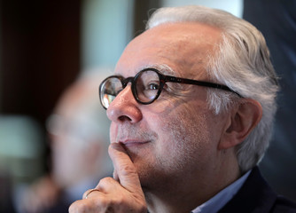 """French Chef Alain Ducasse poses in his new restaurant """"Omer"""" at the Hotel de Paris in Monte-Carlo"""