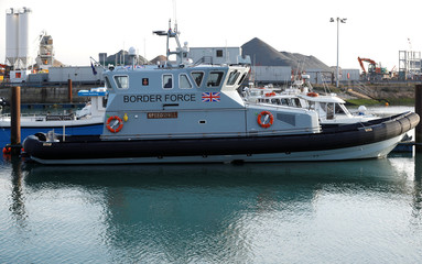 A Border Force Coastal Patrol vessel is moored in a marina in Dover