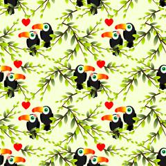 Toucan couple seamless pattern.