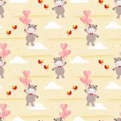 Cute hippo and Valentine balloon seamless pattern.