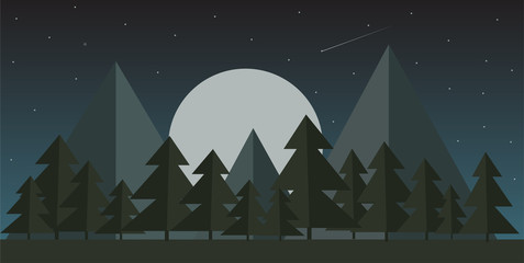 vector illustration of night mountain landscape, green glade near the forest against the starry sky