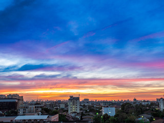 Beautiful color sky in the city landscape