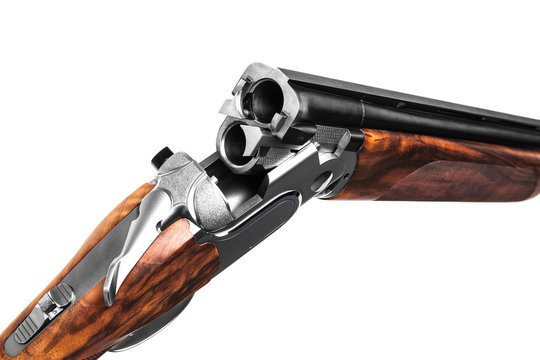 Classic hunting rifle isolated on white background