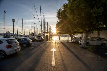Hafen Sonnenuntergang Pfeil