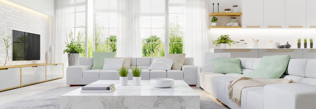 Modern kitchen and modern living room in white interior design