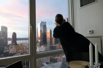 NY Aussicht New York junge Frau fotografiert