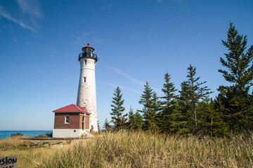 Crisp Point Lighthouse. Remote lighthouse on the coast of Lake Superior in the Upper Peninsula of Michigan.