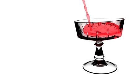 Red wine poured in white transparent wine glass