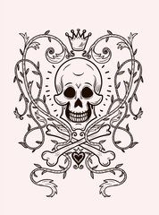 skull with a crown and ornament smiles , line art tattoo