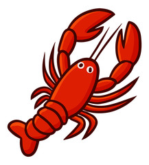 Cute and funny lobster from top view - vector