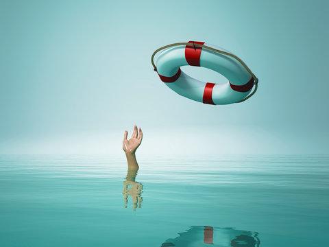 Thrown life buoy saving drowning person