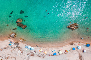 Aerial view of the tropical beach in holiday season