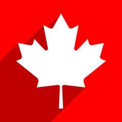 Canadian flag The Maple Leaf symbol with long shadow on square created in flat style. This design graphic element is saved as a vector illustration in the EPS file format.