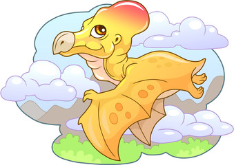 cartoon little cute dinosaur pterodactyl, funny illustration