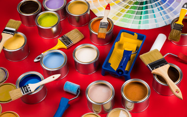 Brush, Paint cans palette, red background
