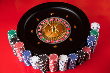 Poker Chips, Casino roulette wheel