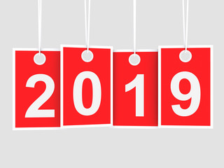 2019 new year on hanging red labels