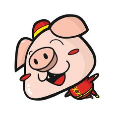 Happy Pig Wearing China Costume