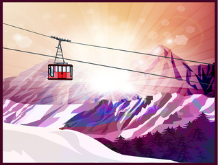 Ski lift, mountains and forest